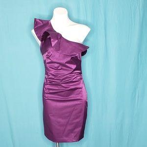 Laundry by Shelli Segal Purple One shoulder dress